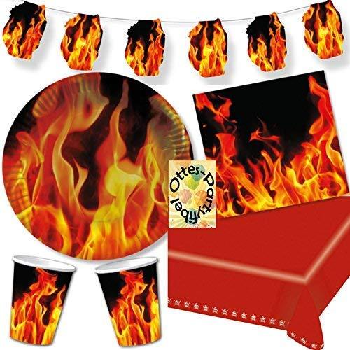 HHO BBQ Grill-Party Feuer Partyset 63tlg. für 20 Gäste Teller Becher Servietten 2 Tischdecken Wimpelkette