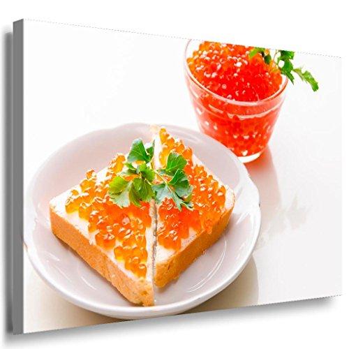Kaviar Brot Frühstück Leinwandbild / LaraArt Bilder / Leinwand Bild + Mehrfarbig + Kunstdruck XXL k34-4 Wandbild 80 x 60 cm
