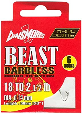Dinsmores Beast Barbless Fishing Hooks to Nylon - White, 18