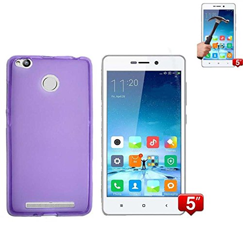 Todobarato24h Funda TPU Lisa Compatible con Xiaomi REDMI 3 Pro / 3S Morada + Protector DE Cristal Templado