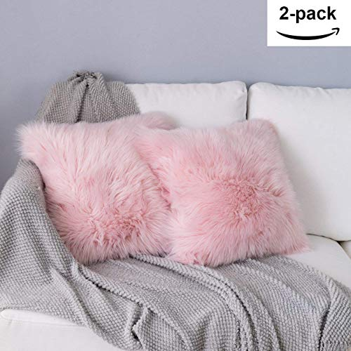 YDFYX Fluffy Decorative Square Plush Pillow Case Faux Fur Cushion Covers For Livingroom Sofa Bedroom etc (2Pcs Pink, 45X45 cm)