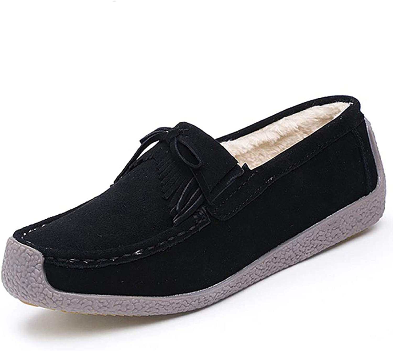 August Jim Women Flats shoes,Slip on Suede Leather Warm Fur Boat shoes