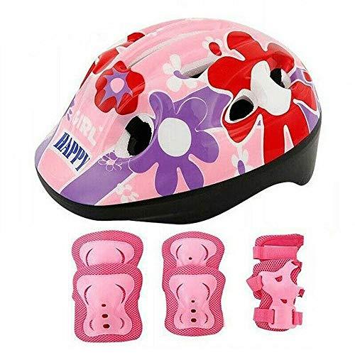 W.Z.H.H.H Conjunto de Protección de Deportes de 7pcs / Set niños Hijos de Patinaje Ciclismo de protección Gear Set Casco Codo Rodilla Pad Guardia niños (Color : Rosado)