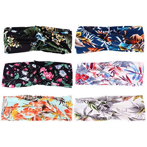 Beaupretty 6 Pcs Floral Bandeau Durable Yoga Bandeau Broadside Bandeau Coiffure Croix Bandeau pour Femmes Filles (Style Mixte)