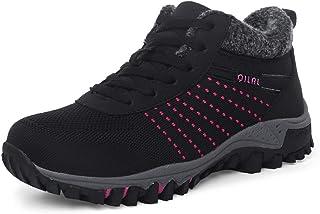 [GoldFlame-JP] レディース ウォーキングシューズ ボア付き 婦人靴 スニーカー シニアブーツ 防寒 防滑 ニット 冬用 あったか 保温 アウトドア 健康シューズ 高齢者靴 旅行靴 ブラック レッド