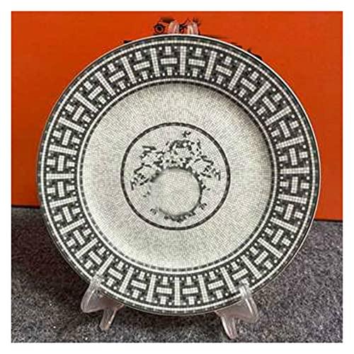 JSJJAEY Plato de Cena Hueso de Estilo Europeo China Placa de cerámica Conjunto de Placas de Cena Gris Placas y Platos Placas de vajilla Nordic Cocina Porcelana Vajilla Torta (Color : 8Inch Plate)