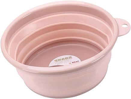 Prettyia Round Collapsible Wash Basin, Portable Washing Basin/Dish Tub/Foot Soaking Pot for Outdoor Hiking Camping Bathroom Kitchen, 12.6 inch Diameter - Pink