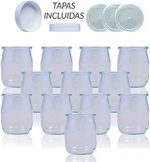 Vasos yogurtera de cristal con tapa pack de 12 botes para