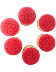 Honbay 6PCS Round Retro Floral Pattern Wooden Rubber Stamps for Scrapbooking