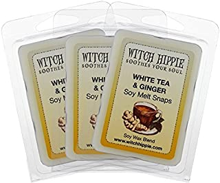 White Tea & Ginger Scented Wickless Candle Tarts 3 Pack, 18 Natural Soy Wax Cubes, A Sophisticated Blend of Orange, Lemon, Peach with Notes of White Tea, Ginger & Clove & Amber, Armoise & Warm Woods