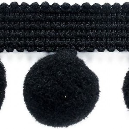 XL Pom Pom Frange Garniture Bobble Galon – Taille XL 2 cm (2 cm) Best Qualité. (par mètre) Noir # C