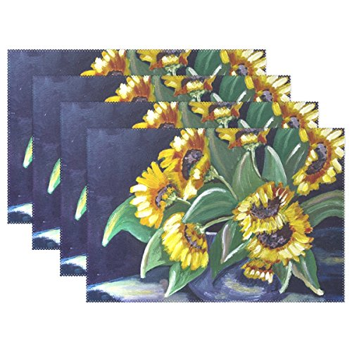 ENEVOTX Painted Sunflower Acrylic Paint Canvas Brush Strokes Placemats Set of 4 Heat Insulation Stain Resistant for Dining Table Durable Non-Slip Kitchen Table Place Mats