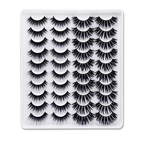 OUTEYE Falsche Wimpern - 20 Paare 6D Nerz Wimpern Wimpern Künstliche natürliche Wimpern Wiederverwendbare falsche Wimpern