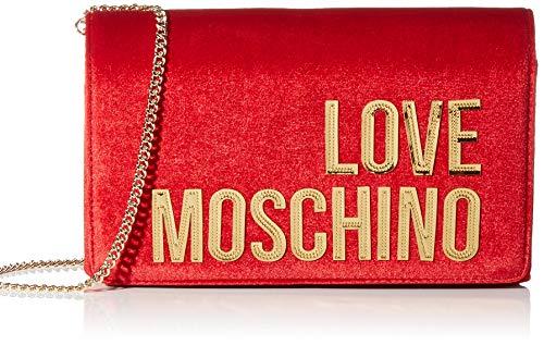 Love Moschino Borsa Velvet, Pochette da Giorno Donna, Rosso (Rosso), 14x6x22 cm (W x H x L)
