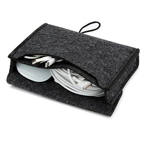 Nidoo Tragbare Filztasche für Maus, Handy, Kabel, Festplatte, Powerbank etc. Dunkelgrau