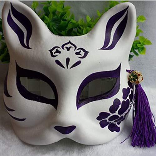 SONGSH Halloween Maske Wind Fox Maske Bemalte Katzenfuchs Halbmaske Halloween DIY Urlaub liefert (Color : 9)