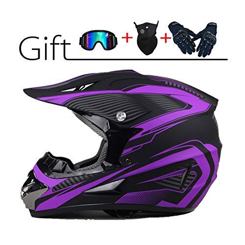 LEENY Motocross-Helm Herren Crosshelm Set mit Brille Handschuhe Maske, Schwarz Lila Motorradhelm Downhill Enduro-Helm ATV MTB BMX-Helm Quad Dirt Bike Motorrad Offroad-Helm für Männer Damen,M