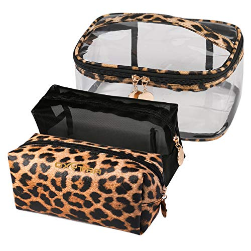 Jarrel 3 in 1 Travel Cosmetic Bag Set Clear & Leopard Print Pouch With Handle Strap - TSA-Approved Airline Kit 3-1-1 Toiletry Bag & Carry-On Makeup Organizer for Women and Girls (3in1 Leopard Print)
