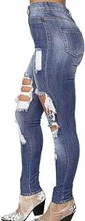 ZEFOTIM Women Slim Washed Ripped Hole Gradient Long Jeans Denim Sexy Regular Pants