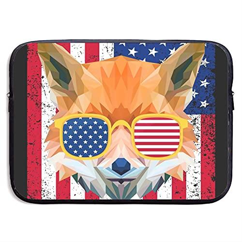 Funda protectora para portátil con diseño de bandera americana con gafas de sol para portátil de 13 a 15 pulgadas