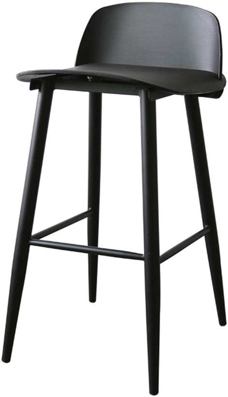 Bar Stools, High Stool, Modern Backrest Dining Chair Footrest Breakfast Bar Kitchen Table Chairs for Bar Kitchen Restaurant Living Room Cafe (color   Black)