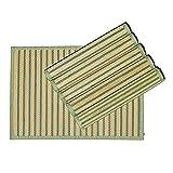 Byoeko Juego de 6 Salvamanteles Individuales rectangulares de Bambú con Borde de Tela de (45 x 30 cm) (Verde)