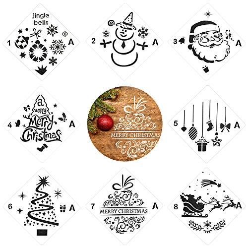 Plantillas de pintura,plantillas de dibujo navideño,8 piezas diferentes conjuntos de plantillas de escala de...