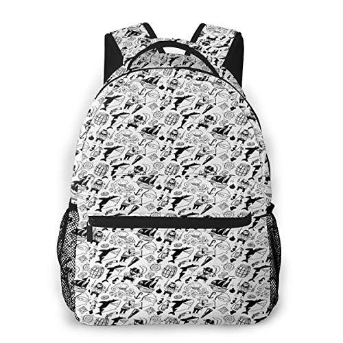 Rucksack Männer Und Damen, Laptop Rucksäcke für 14 Zoll Notebook, Freibeuter Charaktere Haie Nautisch Kinderrucksack Schulrucksack Daypack für Herren Frauen