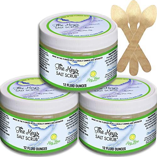 The Keys Salt Scrub : Premium Exfoliating Sea Salt Body Skin Scrubs - Made with Pure Florida Sea Salt and Organic Coconut Oil + FREE Wooden Spoon (Key Lime, Bulk 3 Pack 12 oz)