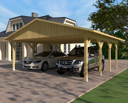 Carport Satteldach MONTE CARLO V 600cm x 600cm, Bausatz, KVH-Holz, Satteldachcarport