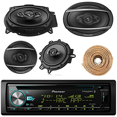 "Pioneer DEH-S6000BS Car Bluetooth Radio USB AUX CD Player Receiver - Bundle with 2X TSA1670F 6.5"" 3-Way Car Audio Speakers - 2X 6.5-6.75"" 4-Way Stereo Speaker + Enrock 50Ft 18 Gauge Speaker Wire"