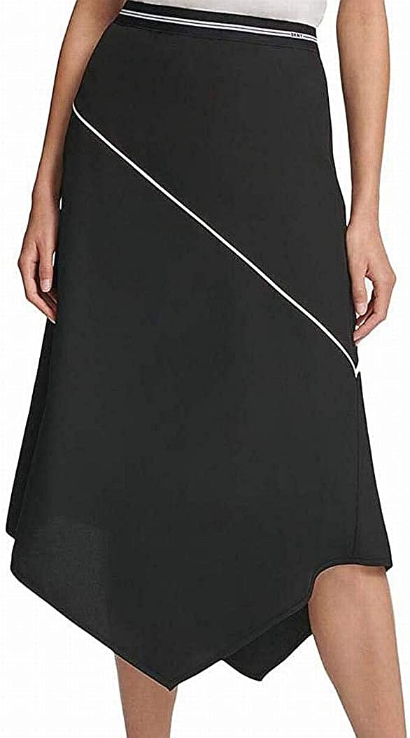 DKNY Womens Black Midi Trapeze Wear to Work Skirt Size S