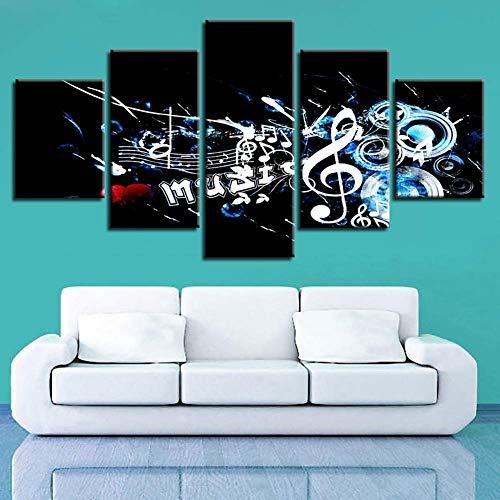 GWFVA Canvas 5 Panel Creatieve Letter Foto's Modulaire Muziek Poster Muur Kunst Schilderen Home Decoratie, B, 30X40X230X60X230X80X1