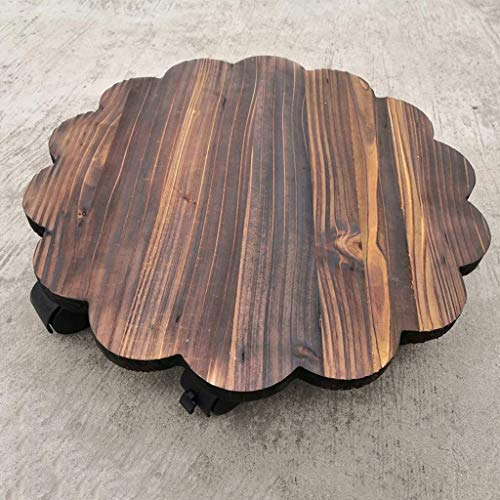 Drip Trays Removable Flower Pot Tray Round with Roller Solid Wooden Base Universal Wheel Potted Solid Wood Flower Tray Plant Saucer Drip Tray