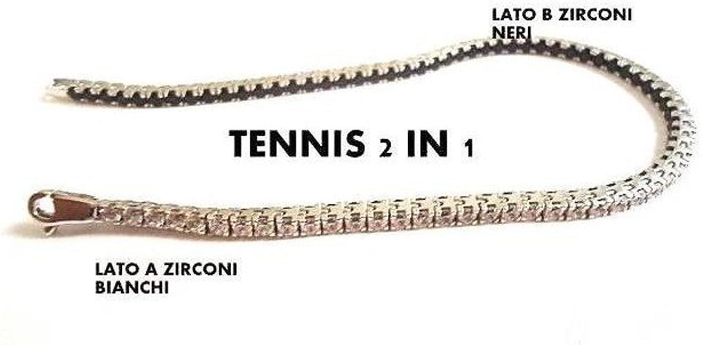 Gioielleria bucci bracciale tennis da uomo in oro bianco zirconi bianchi e neri 1662-oro-b