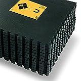 JOWY Esterilla de Espuma Fitness Suave. Tatami Puzzle Negro 60x60cm. Máxima protección para tu Suelo y Piscina. Bordes incluidos. (Negro, 4 pcs (1.44m2))…