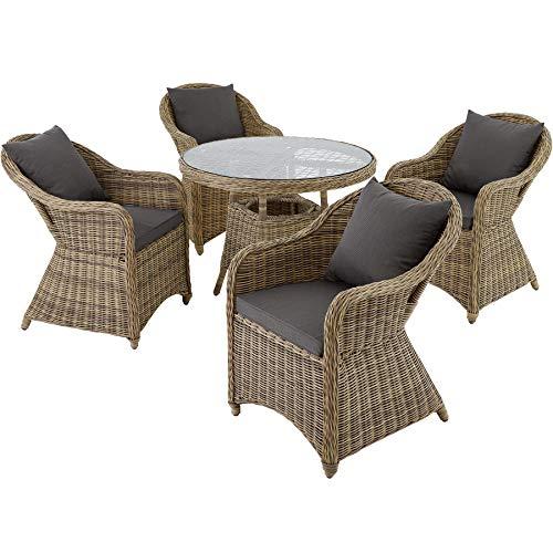 TecTake 800828 Alu Polyrattan Sitzgruppe, Gartenmöbel-Set mit Tisch und 4 Stühlen, Sitzgarnitur für Garten, Terrasse und Balkon, inkl. Polster (Natural | Nr. 401765)