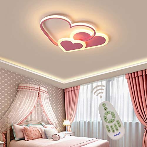 Kinderlampe LED Modern Deckenleuchte Kinderzimmer Mädchen Schlafzimmer Decke Lampen Dimmbar mit Fernbedienung, Liebe Herz Design Acryl-schirm Deco Deckenlampe für Küchen Esszimmer Bad Rosa L52*W35cm