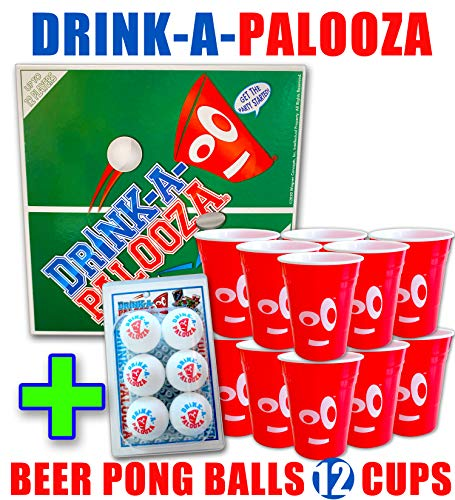 Best Deals! DRINK-A-PALOOZA Party Pack: Board Game + Beer Ping Pong Balls + 12 drinking cups - Party...