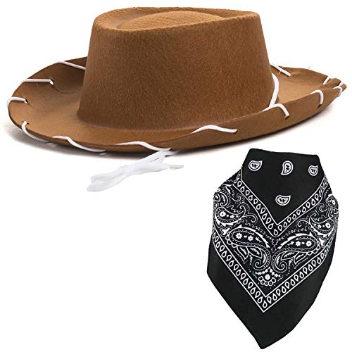 Brown Cowboy Hat for Kids - Cowboy Hat and Bandanna - Cowboy Costume - Cowboy Costume Accessories by Funny Party Hats
