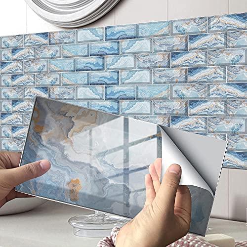 Azulejos Adhesivos Gris Celeste Vinilos Cocina Azulejos PVCVinilos para Baños Impermeable Vinilos de Pared Decorativos Antisalpicaduras Vinilos Decorativos 12 piezas