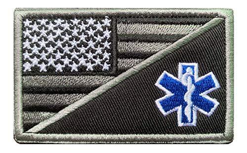 Antrix Aufnäher, Motiv: taktische amerikanische Flagge/EMT Star of Life, bestickt, mit Klettband, Militär, Sanitäter, Erste-Hilfe-Armee, 8 x 5 cm