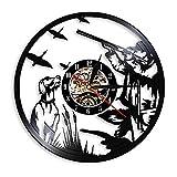 Hunting Duck Klok Reloj 3D Relojes Diseño Moderno Disco de Vinilo Reloj de Pared Cazadores Decoración Vintage Arte de la Pared Montre Mural Pour Salon 12 Pulgadas