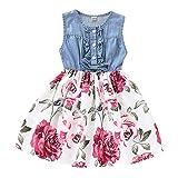 ISHOWTIENDA Baby Girls Casual Short Sleeve Bowknot Dress Beige