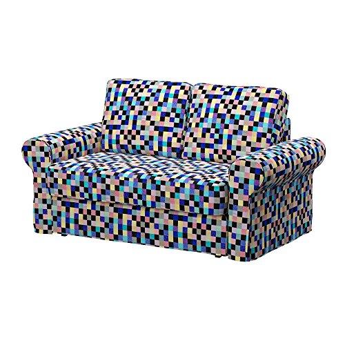 Soferia - IKEA BACKABRO Funda para sofá Cama de 2 plazas, Mozaik Blue