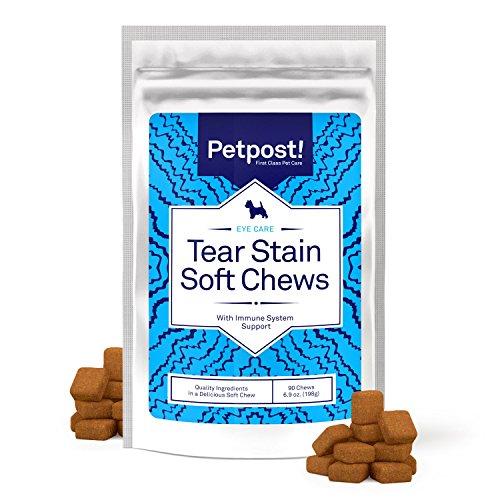 Petpost | Chuches Masticables Quitadores de Manchas Oculares – Delicioso Suplemento para Manchas en los Ojos de los Perros – Tratamiento Natural para Perros de Pelaje Blanco – 90 CT.