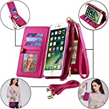 iPhone X/8/7/6/6s Plus Case Samsung Galaxy Note 8/S8 Zipper Buckle Wallet [Kickstand Feature][Folio][Wrist/Long Strap][Card Slots Holder] Detachable Case (Rose Red [Samsung Galaxy S8 (5.8')])