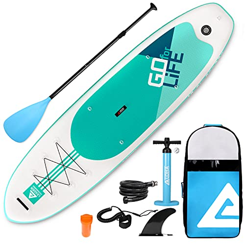 """Leader Accessories 10'6"""" Aqua Inflatable Stand Up Board with Fins (6"""" Thick) Includes Adjustable Paddle,Kayak Leash,ISUP Backpack,Pump with Gauge"""