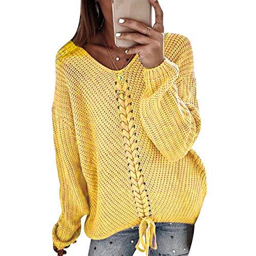Suéter Largo Mujer Jersey Punto V Mujer Oversize Tallas Grandes Sueter Jerséis Trenzas Jerseys Grueso Mujeres Sueteres Mujer Invierno Largo Suéters Señora Suéteres Mujer Pullover Holgado Amarillo 2XL