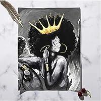 アフリカの女王黒人少女少年北欧のポスターと版画、壁アートキャンバス絵画印刷壁の写真、リビングルームクラブ用-60X80Cmフレームなし